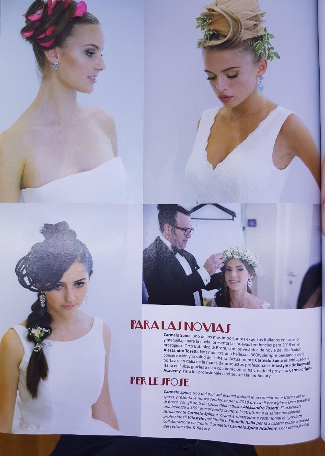 Articolo del magazine PELUQUERIAS HAIR STYLES #546 del 2017 dedicato a Carmelo Spina Hair&Face Stylist.